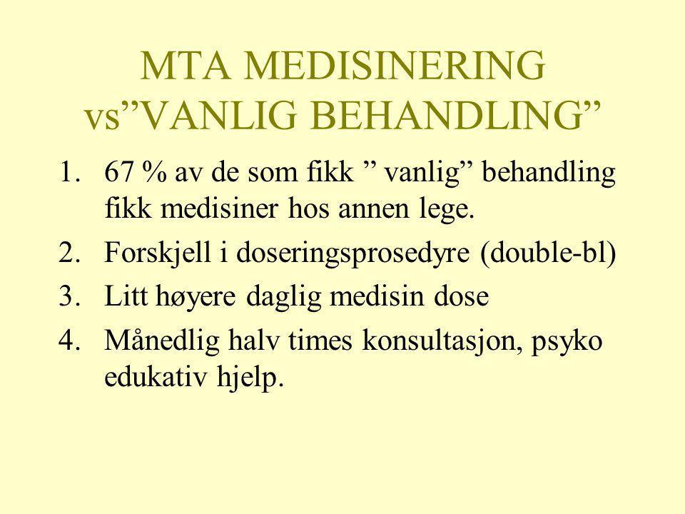 """MTA MEDISINERING vs""""VANLIG BEHANDLING"""" 1.67 % av de som fikk """" vanlig"""" behandling fikk medisiner hos annen lege. 2.Forskjell i doseringsprosedyre (dou"""