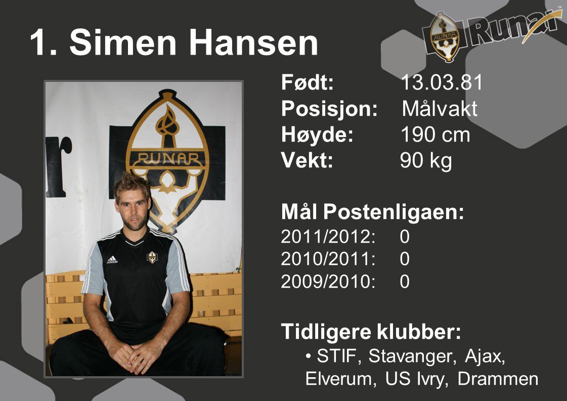 1. Simen Hansen Født: 13.03.81 Posisjon: Målvakt Høyde:190 cm Vekt:90 kg Mål Postenligaen: 2011/2012: 0 2010/2011: 0 2009/2010: 0 Tidligere klubber: •