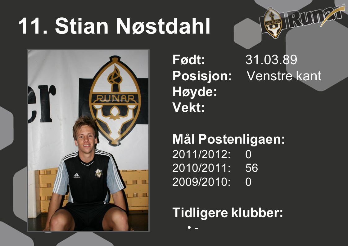 11. Stian Nøstdahl Født: 31.03.89 Posisjon: Venstre kant Høyde: Vekt: Mål Postenligaen: 2011/2012: 0 2010/2011: 56 2009/2010: 0 Tidligere klubber: • -