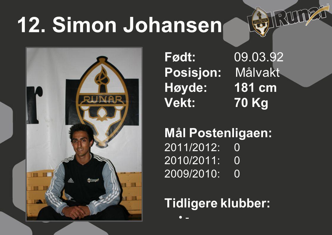 12. Simon Johansen Født: 09.03.92 Posisjon: Målvakt Høyde:181 cm Vekt:70 Kg Mål Postenligaen: 2011/2012: 0 2010/2011: 0 2009/2010: 0 Tidligere klubber