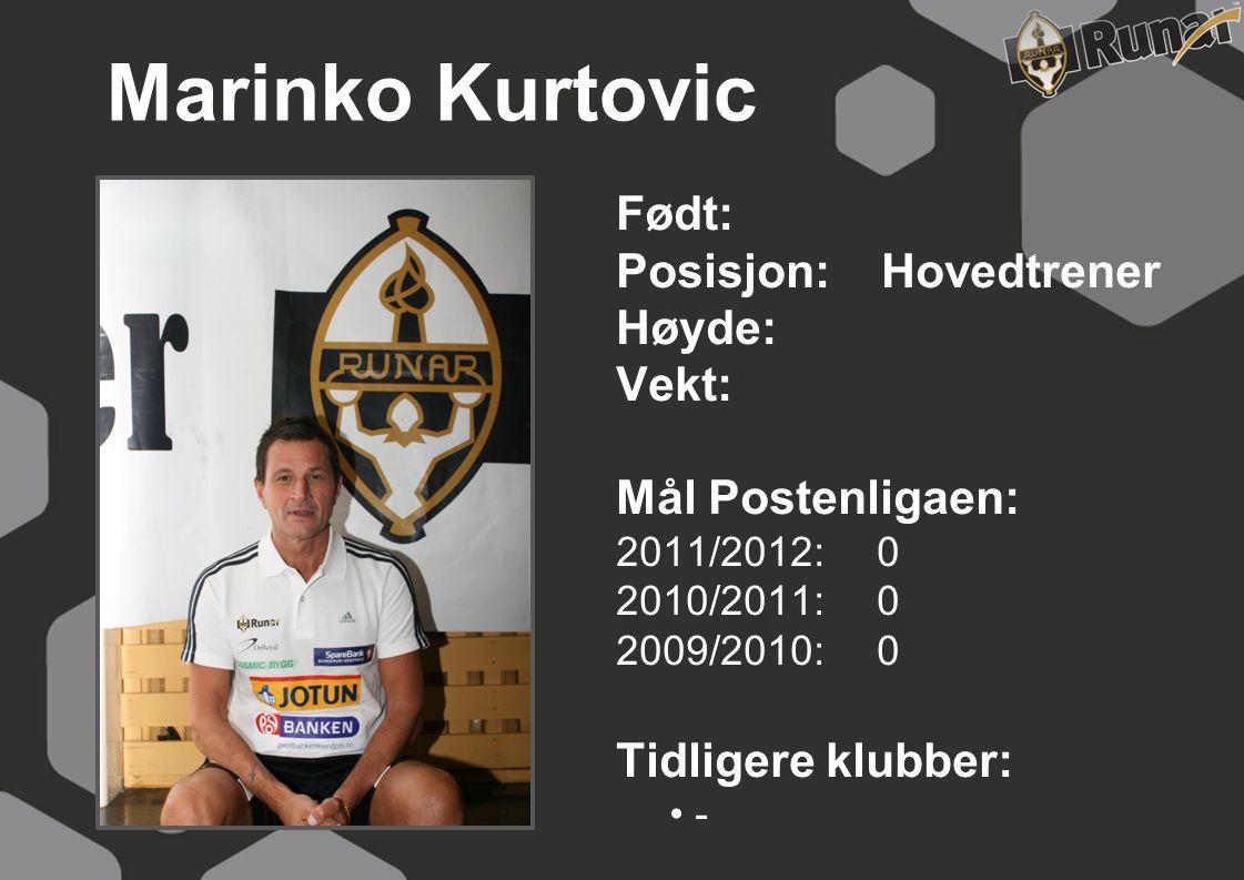 Marinko Kurtovic Født: Posisjon: Hovedtrener Høyde: Vekt: Mål Postenligaen: 2011/2012: 0 2010/2011: 0 2009/2010: 0 Tidligere klubber: • -