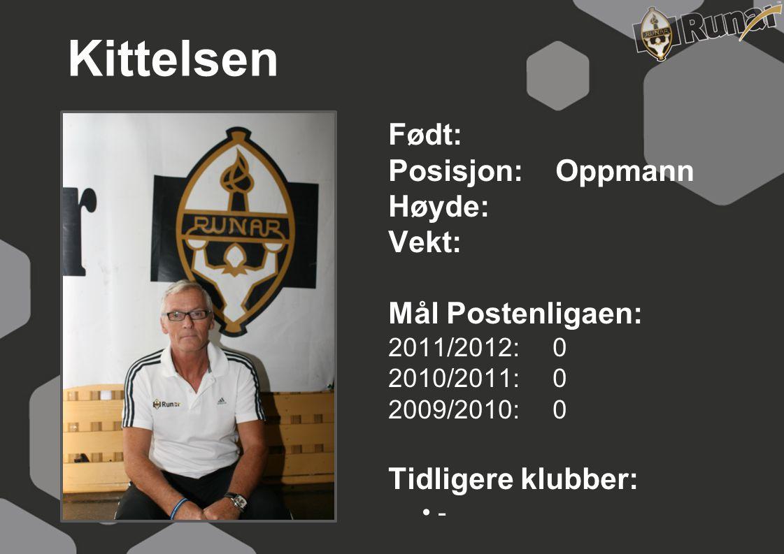 Kittelsen Født: Posisjon: Oppmann Høyde: Vekt: Mål Postenligaen: 2011/2012: 0 2010/2011: 0 2009/2010: 0 Tidligere klubber: • -