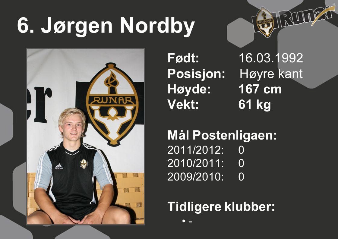 6. Jørgen Nordby Født: 16.03.1992 Posisjon: Høyre kant Høyde:167 cm Vekt:61 kg Mål Postenligaen: 2011/2012: 0 2010/2011: 0 2009/2010: 0 Tidligere klub