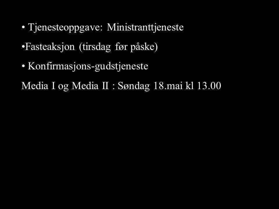 • Tjenesteoppgave: Ministranttjeneste •Fasteaksjon (tirsdag før påske) • Konfirmasjons-gudstjeneste Media I og Media II : Søndag 18.mai kl 13.00