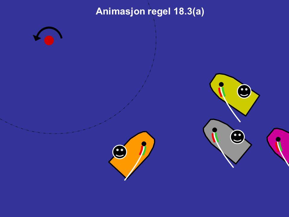 18.3Stagvending når man nærmer seg et merke Hvis to båter nærmer seg et merke for motsatte halser og en av dem endrer halser, og som et resultat er underlagt regel 13 i sonen mens den andre står opp merket, gjelder regel 18.2 deretter ikke.