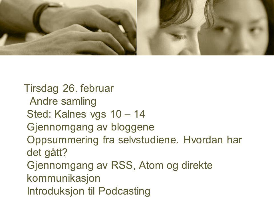 Tirsdag 26. februar Andre samling Sted: Kalnes vgs 10 – 14 Gjennomgang av bloggene Oppsummering fra selvstudiene. Hvordan har det gått? Gjennomgang av