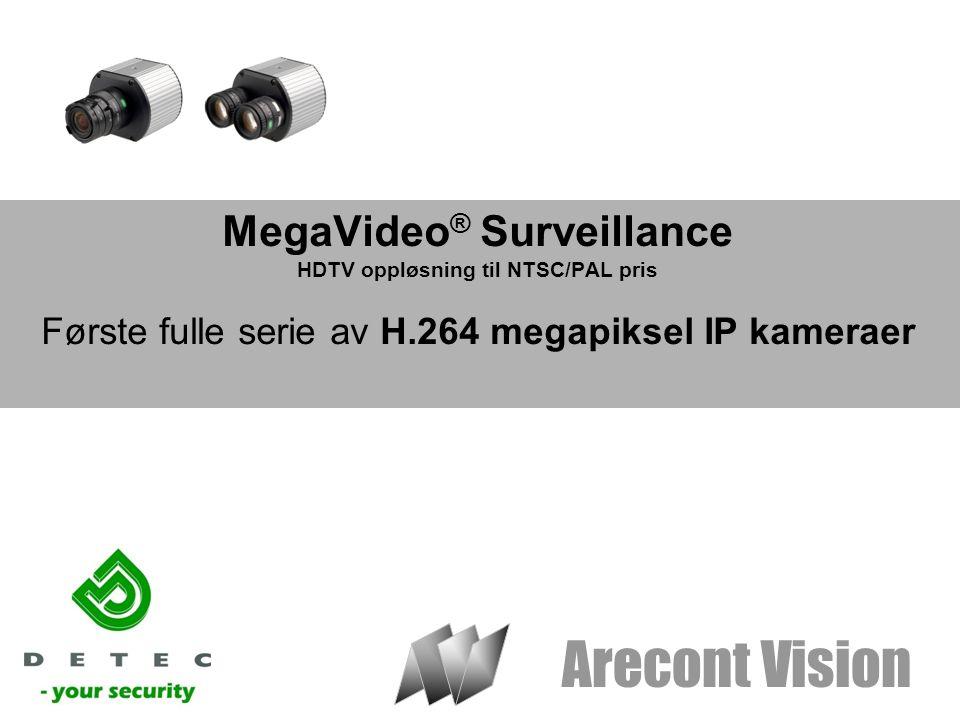 Arecont Vision MegaVideo ® Surveillance HDTV oppløsning til NTSC/PAL pris Første fulle serie av H.264 megapiksel IP kameraer