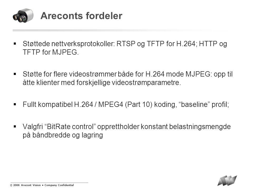 © 2006 Arecont Vision • Company Confidential Areconts fordeler  Støttede nettverksprotokoller: RTSP og TFTP for H.264; HTTP og TFTP for MJPEG.
