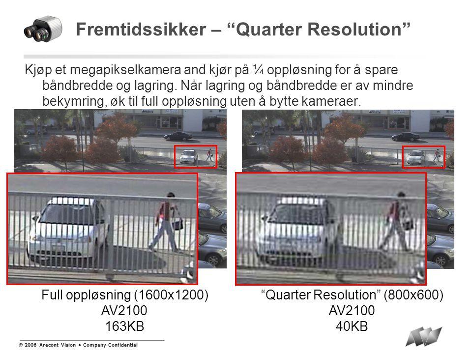 © 2006 Arecont Vision • Company Confidential Fremtidssikker – Quarter Resolution Kjøp et megapikselkamera and kjør på ¼ oppløsning for å spare båndbredde og lagring.