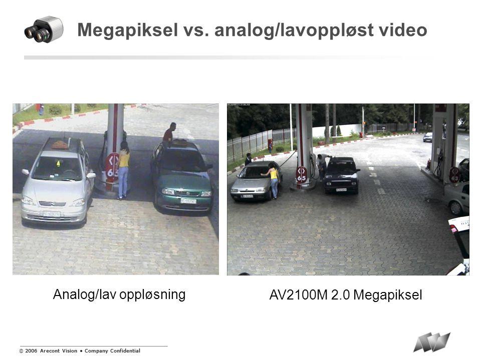 © 2006 Arecont Vision • Company Confidential MegaVideo ® produktlinje  AV3130M DayNight™ 3.1M/1.3M piksler i bildet (Dual Sensor).01 lux til 100,000 lux  AV8360 SurroundVideo® 8 megapiksler (4x 2MP) 360 graders synsfelt  AV8180 SurroundVideo® 8 megapiksler (4x 2MP) 180 graders synsfelt  AV1300 serien 1.3 megapiksler (1280x1024) >25 bps @ 1280x1024  AV2100 serien 2 megapiksler (1600x1200) Følsomhet ned mot.5 lux  AV3100 serien 3.1 megapiksler (2048x1536) 20 bps @ 1920 x 1200  AV5100 serien 5 megapiksler (2592x1944) 20 bps @ 1920 x 1200