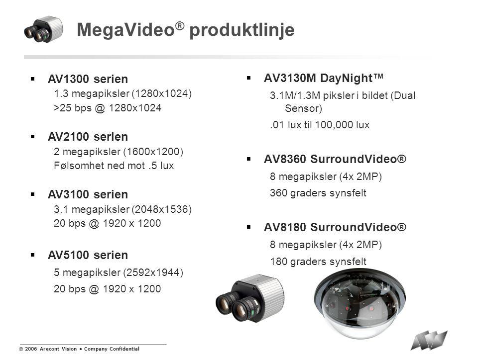 © 2006 Arecont Vision • Company Confidential MegaVideo ® familiene M serien  Minste megapikselkameraene tilgjengelig  25 bps ved 1280x1024  0.1-0.5 Lux m/ støyreduksjonsteknologi (Low Noise)  POE (Power Over Ethernet)  Elektronisk Iris kontroll  Innebygget bevegelsesdeteksjon AI serien  Samme egenskaper som M serien  DC Iris Control  Tilgjengelige modeller: • AV1300AI • AV2100AI • AV3100AI • AV5100AI DN serien + AV3130M  Samme egenskaper som M serien  IR Cut Filter ved lavlys  0.01-0.05 Lux m/ støyreduksjonsteknologi (Low Noise)  Tilgjengelige modeller: • AV1300DN • AV2100DN • AV3100DN • AV5100DN • AV3130M Dual Sensors