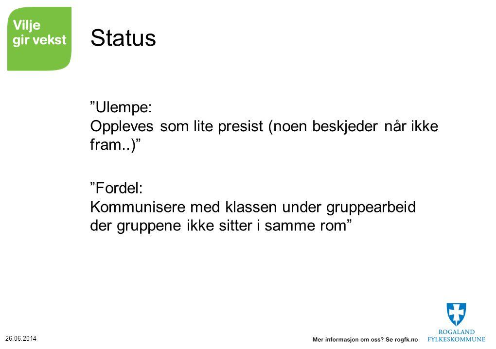 26.06.2014 Status Ulempe: Oppleves som lite presist (noen beskjeder når ikke fram..) Fordel: Kommunisere med klassen under gruppearbeid der gruppene ikke sitter i samme rom