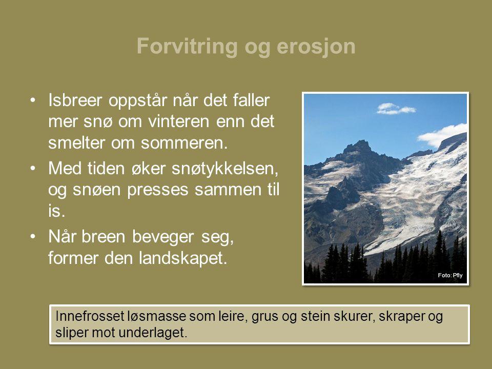 Forvitring og erosjon •Isbreer oppstår når det faller mer snø om vinteren enn det smelter om sommeren.