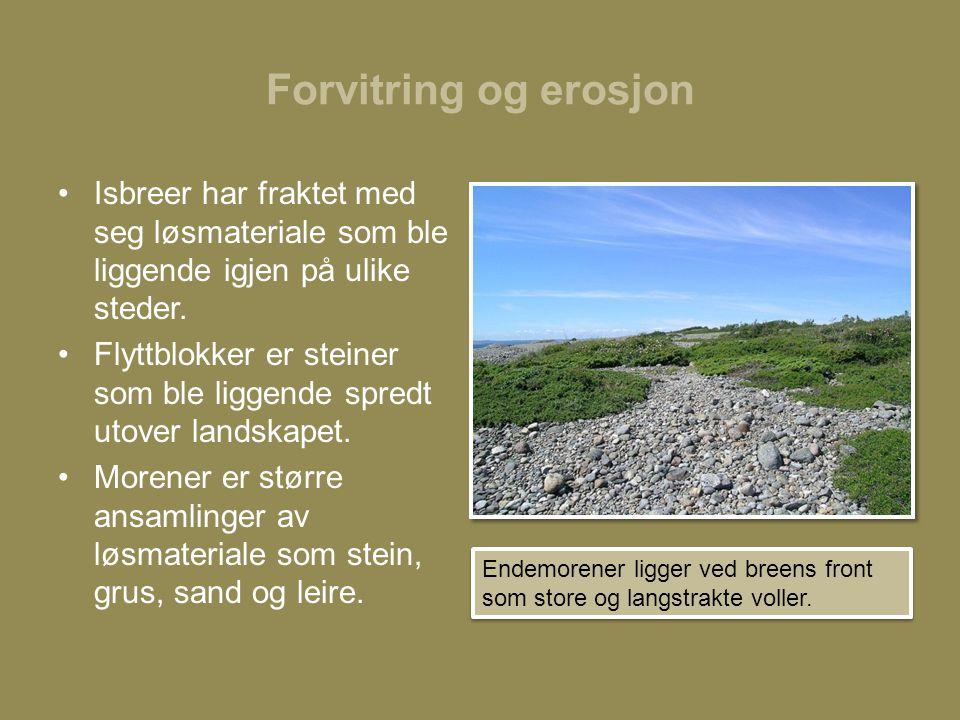 Forvitring og erosjon •Isbreer har fraktet med seg løsmateriale som ble liggende igjen på ulike steder.