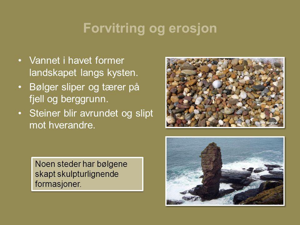 Forvitring og erosjon •Vannet i havet former landskapet langs kysten.