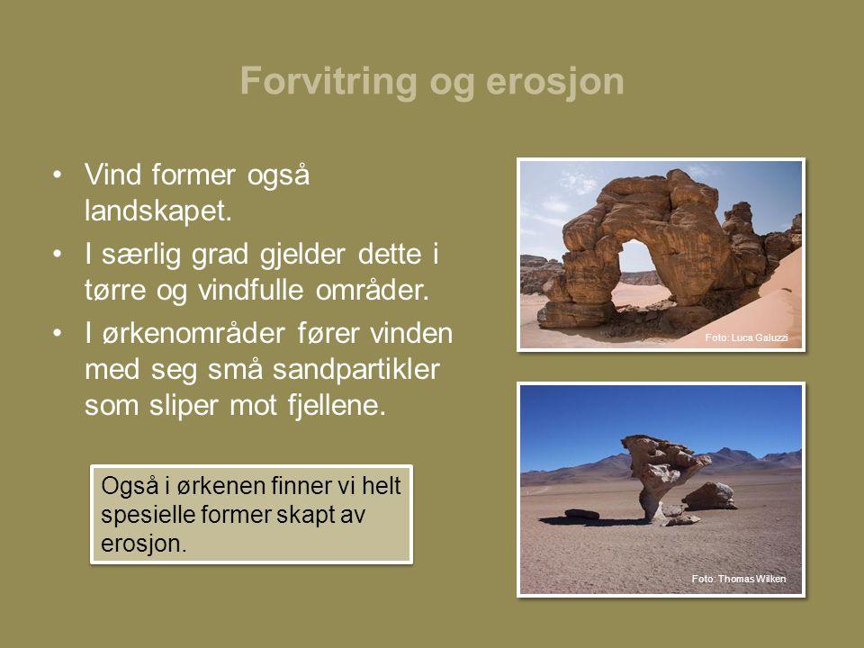 Forvitring og erosjon •Vind former også landskapet.