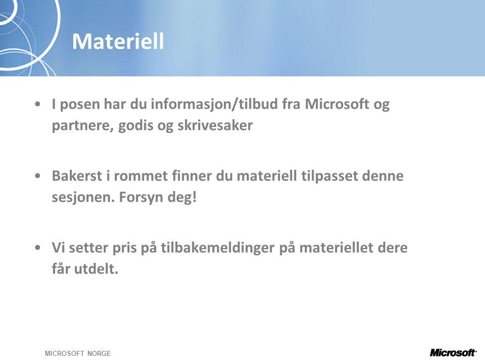 MICROSOFT NORGE Materiell •I posen har du informasjon/tilbud fra Microsoft og partnere, godis og skrivesaker •Bakerst i rommet finner du materiell tilpasset denne sesjonen.