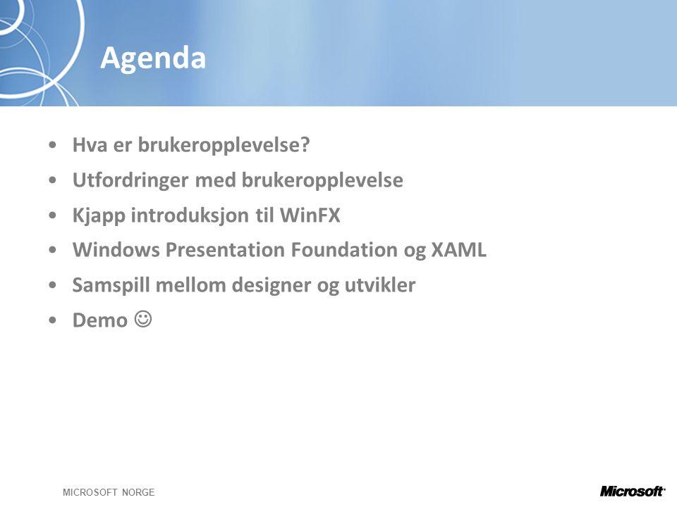 MICROSOFT NORGE Agenda •Hva er brukeropplevelse.