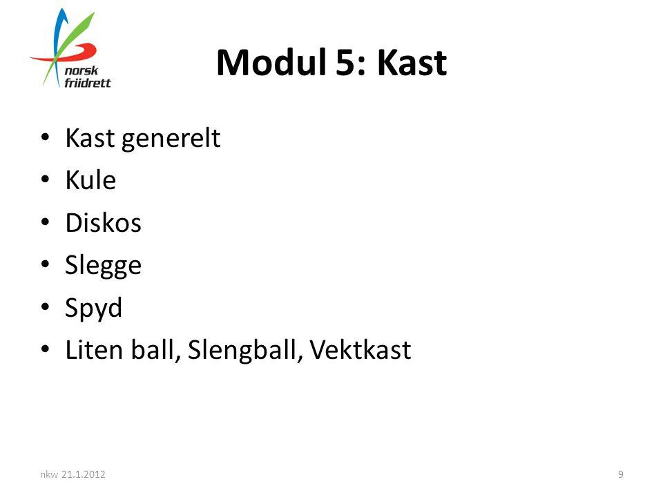 Modul 5: Kast • Kast generelt • Kule • Diskos • Slegge • Spyd • Liten ball, Slengball, Vektkast nkw 21.1.20129