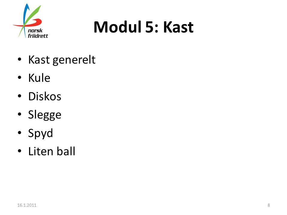 Modul 5: Kast • Kast generelt • Kule • Diskos • Slegge • Spyd • Liten ball 16.1.20118
