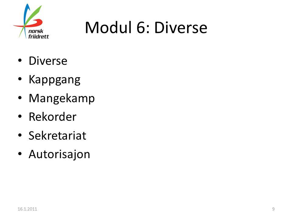 Modul 6: Diverse • Diverse • Kappgang • Mangekamp • Rekorder • Sekretariat • Autorisajon 16.1.20119