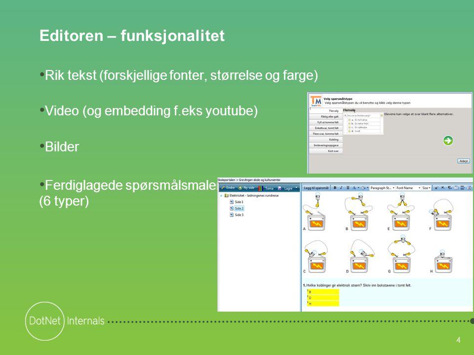 4 Editoren – funksjonalitet • Rik tekst (forskjellige fonter, størrelse og farge) • Video (og embedding f.eks youtube) • Bilder • Ferdiglagede spørsmå
