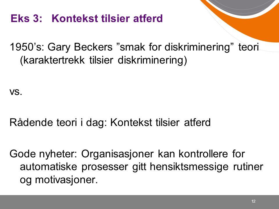 """12 Eks 3: Kontekst tilsier atferd 1950's: Gary Beckers """"smak for diskriminering"""" teori (karaktertrekk tilsier diskriminering) vs. Rådende teori i dag:"""