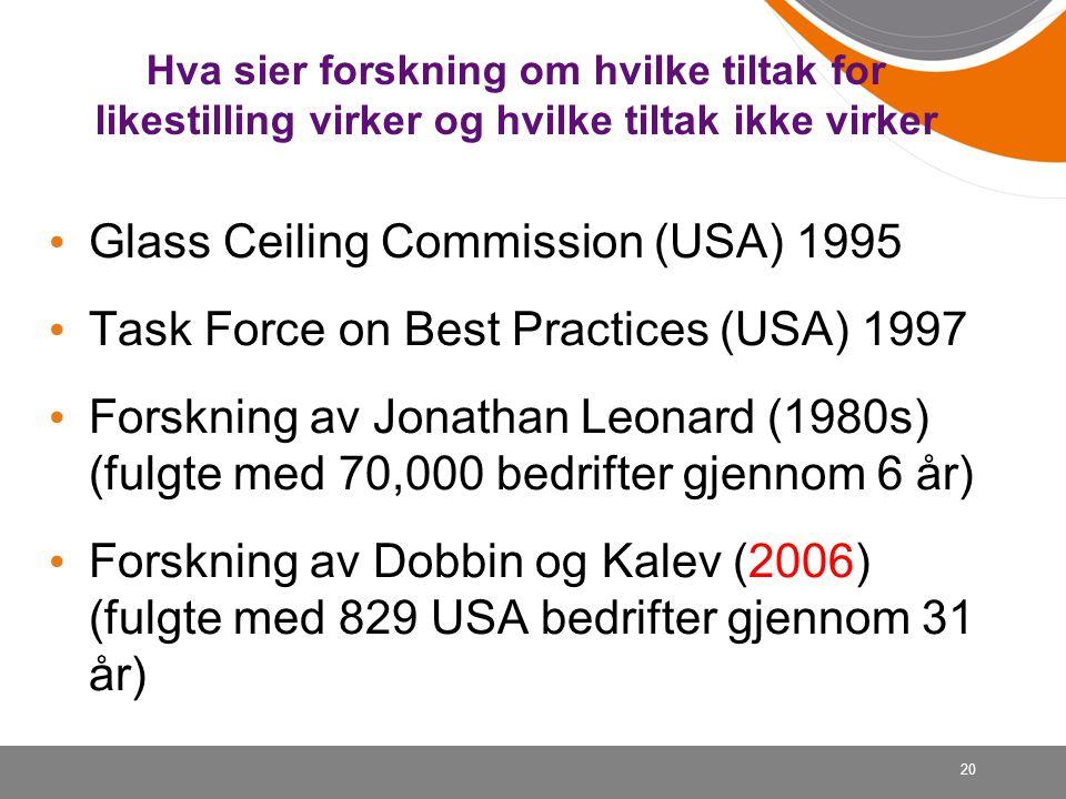 20 Hva sier forskning om hvilke tiltak for likestilling virker og hvilke tiltak ikke virker • Glass Ceiling Commission (USA) 1995 • Task Force on Best