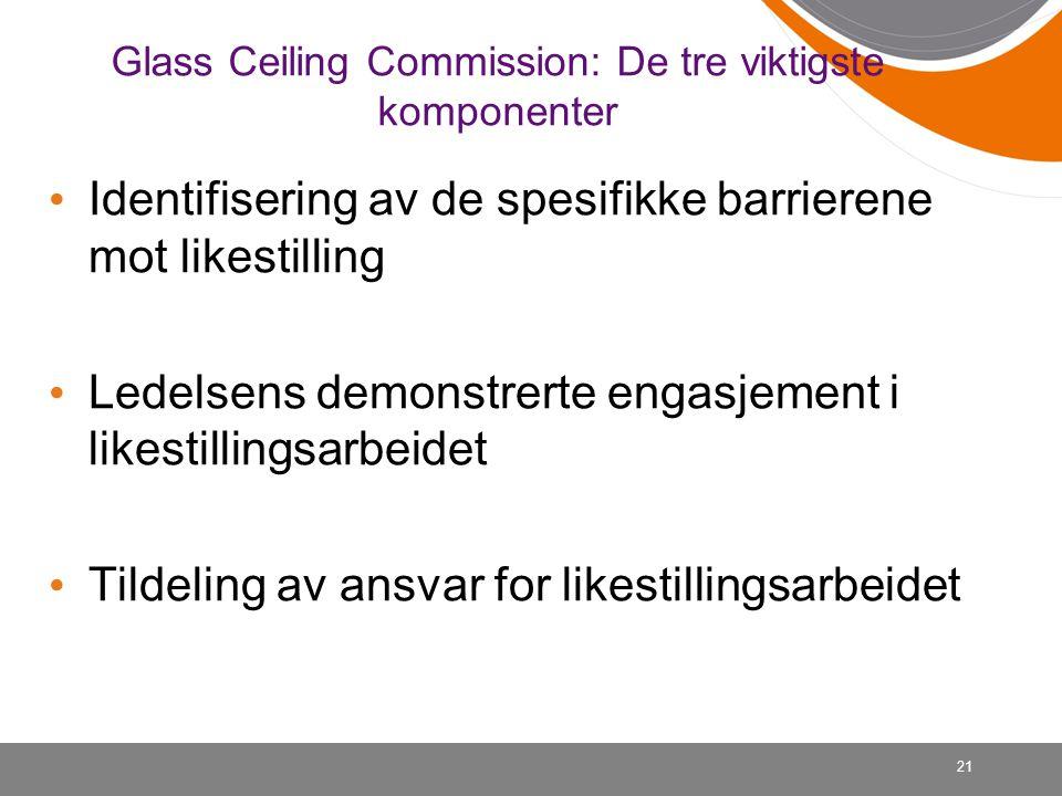 21 Glass Ceiling Commission: De tre viktigste komponenter • Identifisering av de spesifikke barrierene mot likestilling • Ledelsens demonstrerte engas