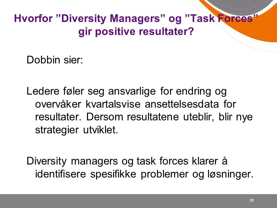 """28 Hvorfor """"Diversity Managers"""" og """"Task Forces"""" gir positive resultater? Dobbin sier: Ledere føler seg ansvarlige for endring og overvåker kvartalsvi"""