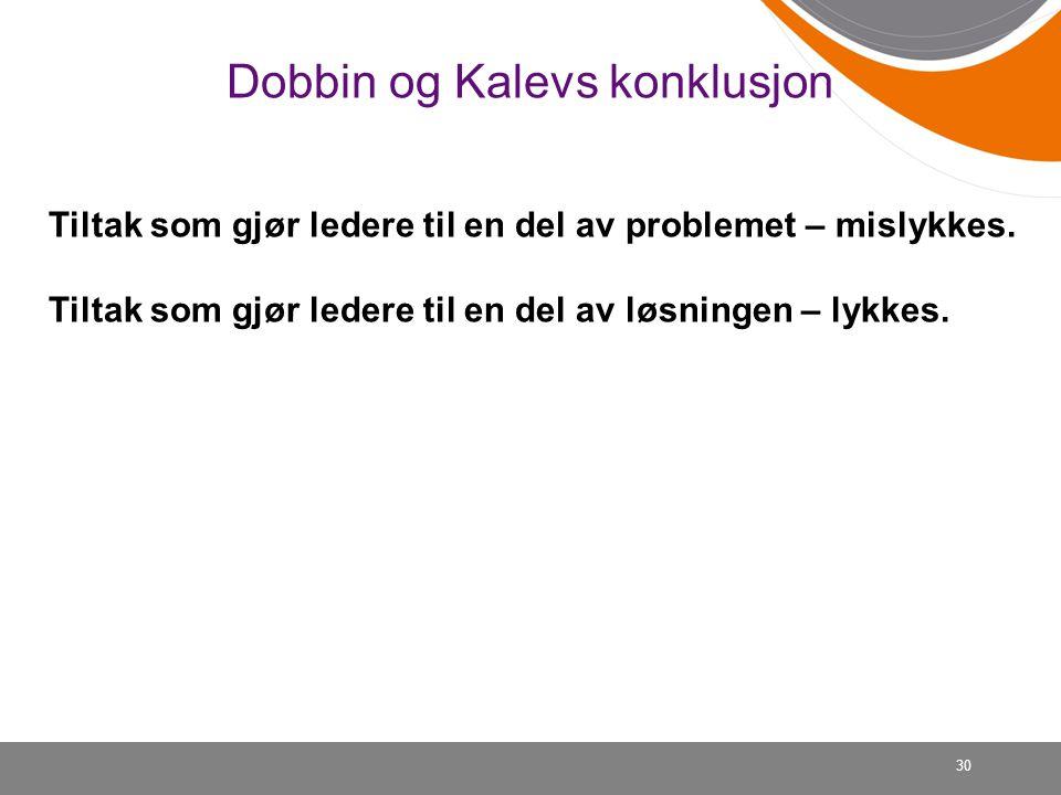 Dobbin og Kalevs konklusjon 30 Tiltak som gjør ledere til en del av problemet – mislykkes. Tiltak som gjør ledere til en del av løsningen – lykkes.
