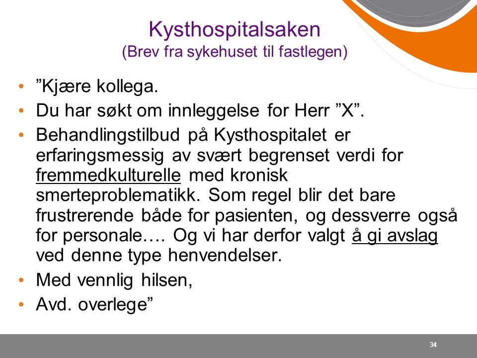 """34 Kysthospitalsaken (Brev fra sykehuset til fastlegen) • """"Kjære kollega. • Du har søkt om innleggelse for Herr """"X"""". • Behandlingstilbud på Kysthospit"""