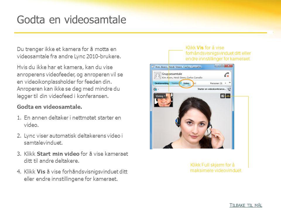 Du trenger ikke et kamera for å motta en videosamtale fra andre Lync 2010-brukere. Hvis du ikke har et kamera, kan du vise anroperens videofeeder, og