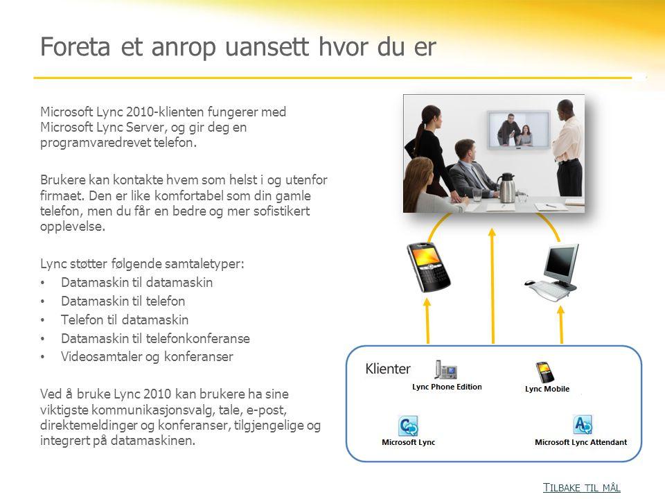 Foreta et anrop uansett hvor du er Microsoft Lync 2010-klienten fungerer med Microsoft Lync Server, og gir deg en programvaredrevet telefon. Brukere k