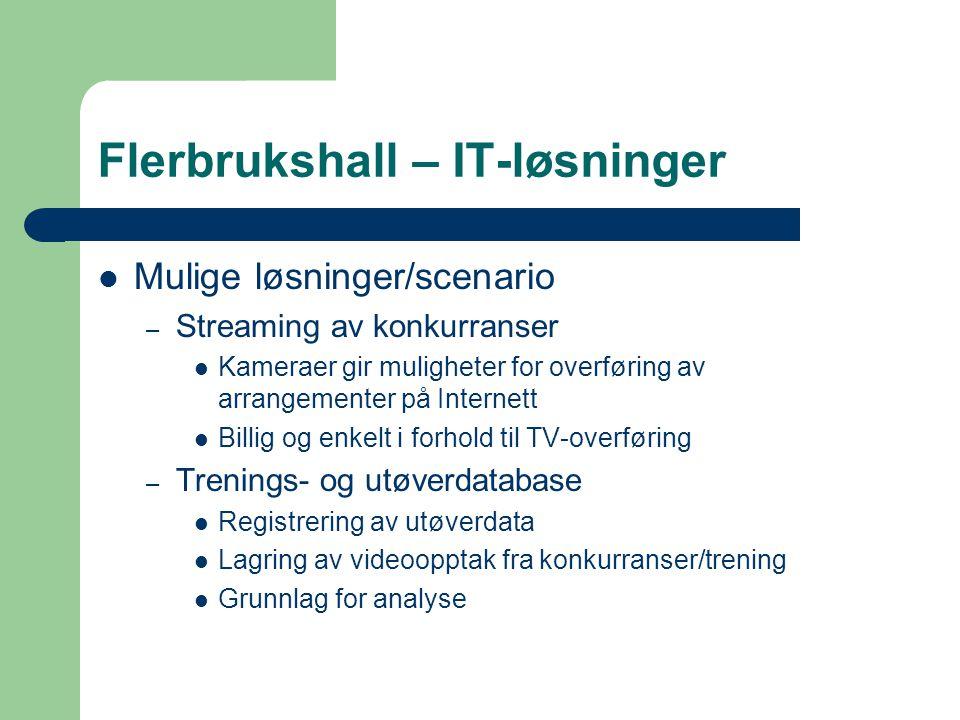 Flerbrukshall – IT-løsninger  Mulige løsninger/scenario – Streaming av konkurranser  Kameraer gir muligheter for overføring av arrangementer på Inte