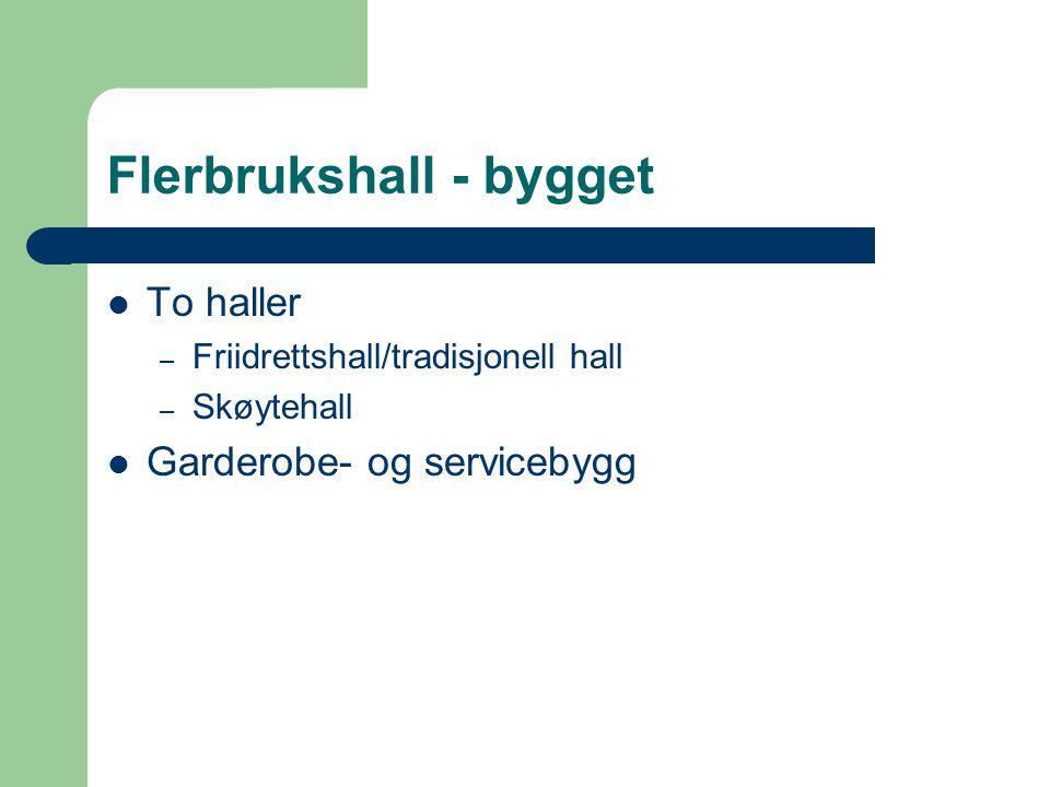 Flerbrukshall - bygget  To haller – Friidrettshall/tradisjonell hall – Skøytehall  Garderobe- og servicebygg