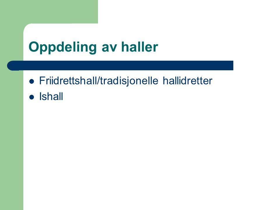 Oppdeling av haller  Friidrettshall/tradisjonelle hallidretter  Ishall