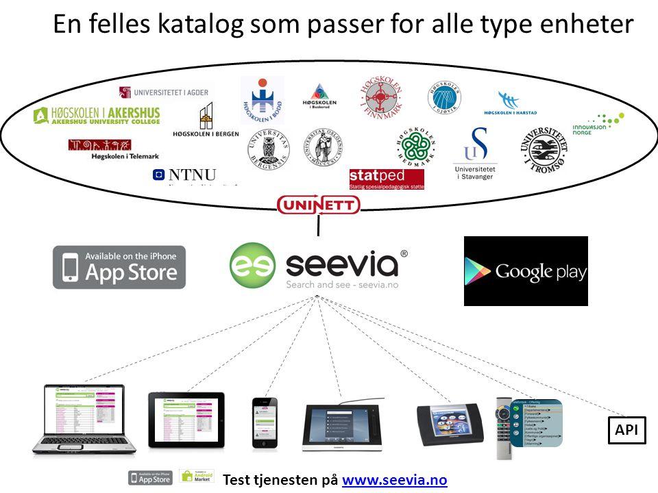 En felles katalog som passer for alle type enheter Test tjenesten på www.seevia.nowww.seevia.no API