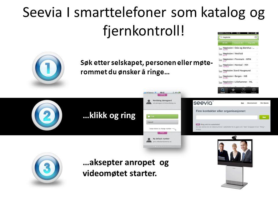 Seevia I smarttelefoner som katalog og fjernkontroll.