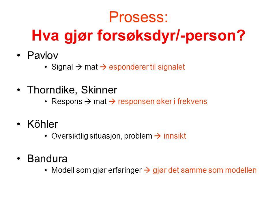 Prosess: Hva gjør forsøksdyr/-person? •Pavlov •Signal  mat  esponderer til signalet •Thorndike, Skinner •Respons  mat  responsen øker i frekvens •