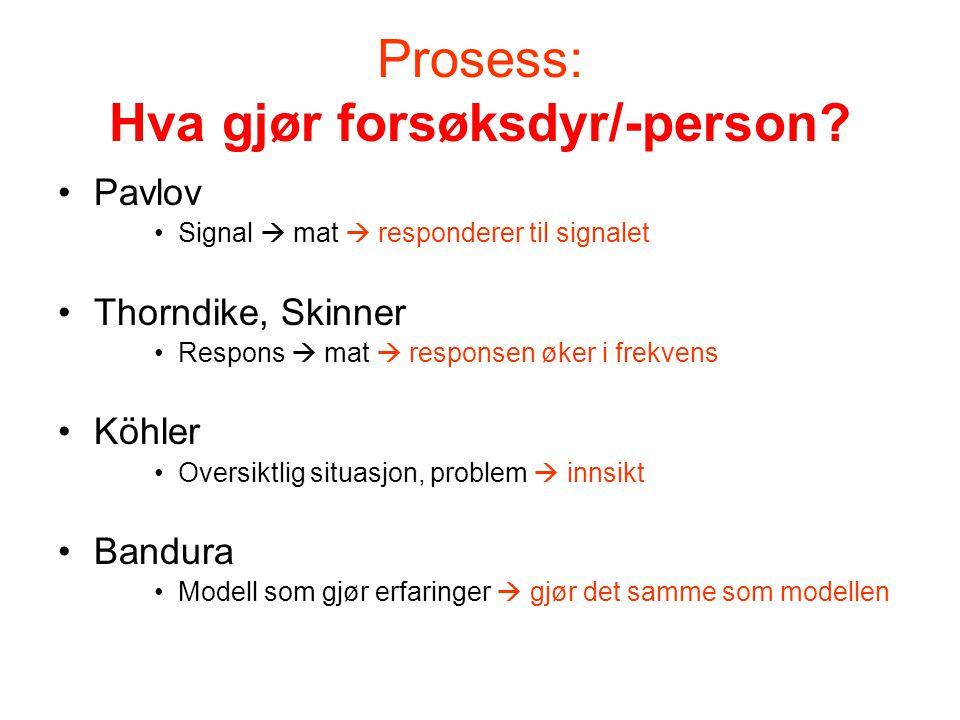Prosess: Hva gjør forsøksdyr/-person? •Pavlov •Signal  mat  responderer til signalet •Thorndike, Skinner •Respons  mat  responsen øker i frekvens