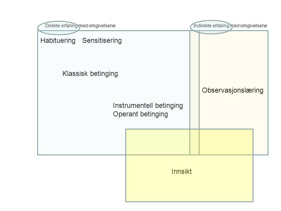 Klassisk betinging Instrumentell betinging Operant betinging HabitueringSensitisering Observasjonslæring Innsikt Direkte erfaring med omgivelsene Indi