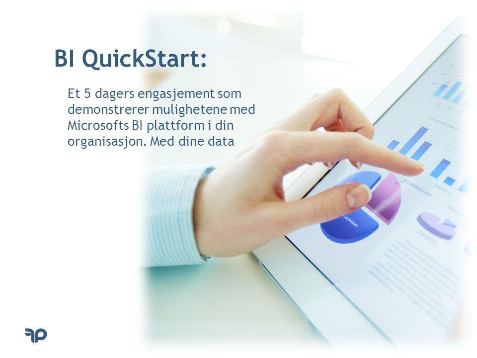 BI QuickStart: Et 5 dagers engasjement som demonstrerer mulighetene med Microsofts BI plattform i din organisasjon. Med dine data