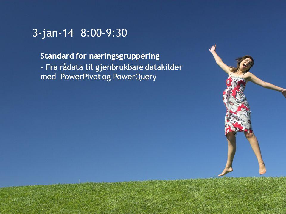 3-jan-14 8:00–9:30 Standard for næringsgruppering - Fra rådata til gjenbrukbare datakilder med PowerPivot og PowerQuery