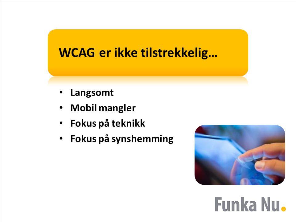 WCAG er ikke tilstrekkelig… • Langsomt • Mobil mangler • Fokus på teknikk • Fokus på synshemming