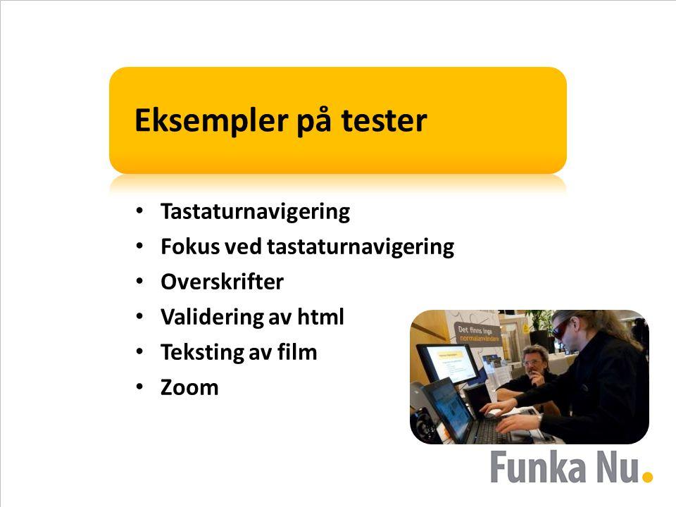 Eksempler på tester • Tastaturnavigering • Fokus ved tastaturnavigering • Overskrifter • Validering av html • Teksting av film • Zoom