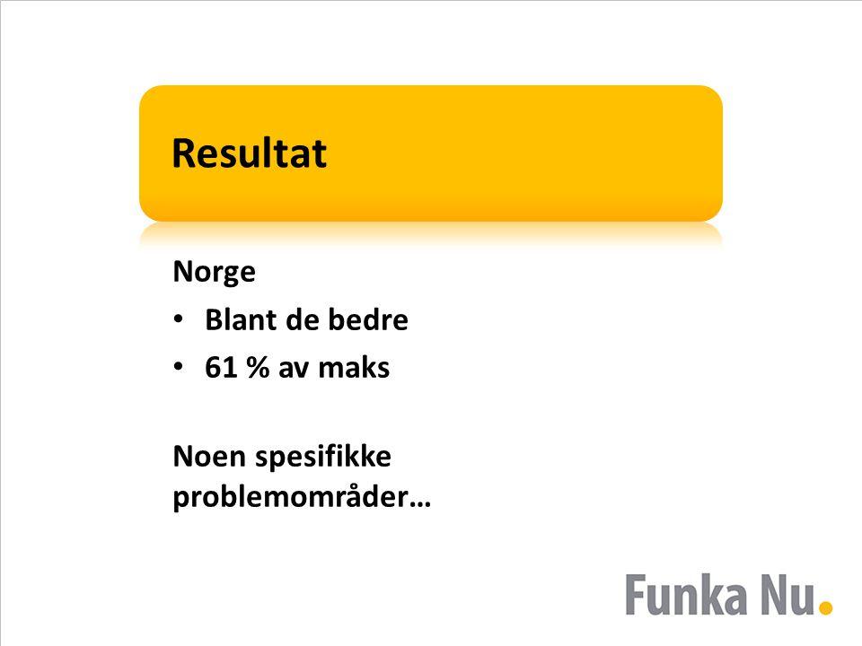 Resultat Norge • Blant de bedre • 61 % av maks Noen spesifikke problemområder…