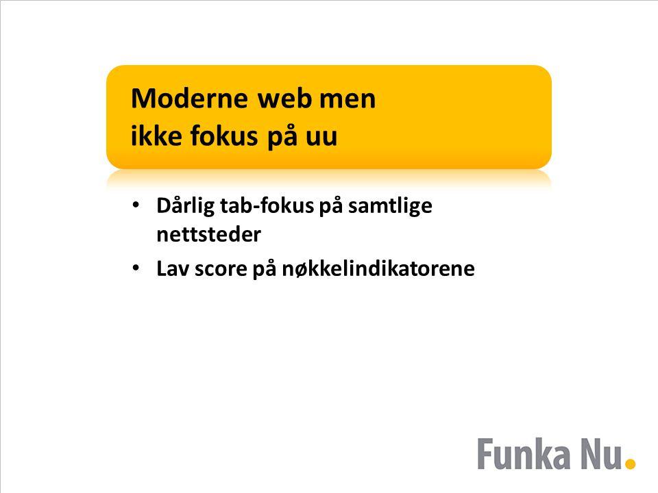 Moderne web men ikke fokus på uu • Dårlig tab-fokus på samtlige nettsteder • Lav score på nøkkelindikatorene