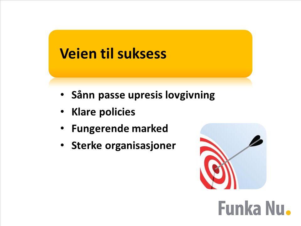 Veien til suksess • Sånn passe upresis lovgivning • Klare policies • Fungerende marked • Sterke organisasjoner