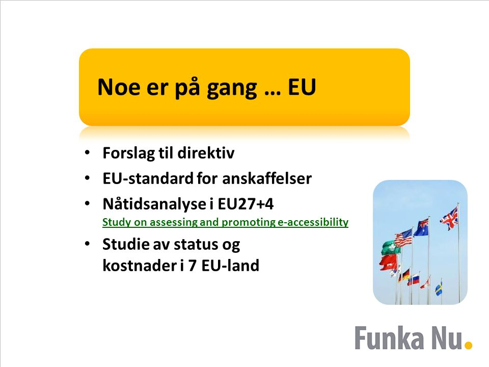 Noe er på gang … EU • Forslag til direktiv • EU-standard for anskaffelser • Nåtidsanalyse i EU27+4 Study on assessing and promoting e-accessibility St